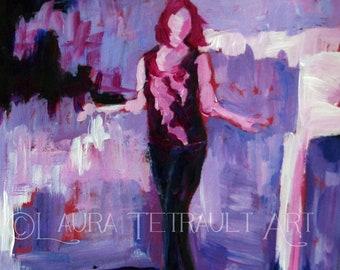 "Take Me Away- Original Acrylic Figure Painting - Woman on a balcony at night- 7x5"""