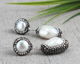 White Pearl Earrings, Pearl Dangle Earrings, Freshwater Pearls Jewelry, Wedding Gift, Natural Pearl Earrings, Bridesmaid Earrings