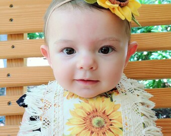 RTS- Sunflower Baby Drool Bib- Baby bib, Boho drool bib, boho bib, baby accessories, drool bib, fringe bib, baby girl bib, baby shower gift