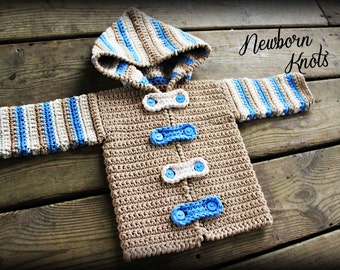 Crochet Baby Sweater Pattern - Boy or Girl Striped Hoodie Sweater/Cardigan. Pattern #27. Instant Download - Includes 4 sizes up to 2 years