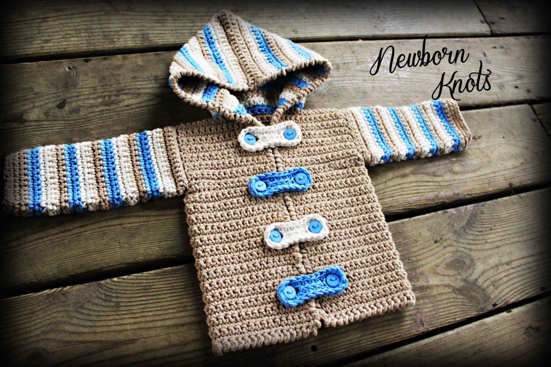 Crochet Baby Sweater Pattern Boy or Girl Striped Hoodie