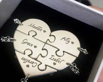 5 Best Friend Necklace - Five Piece Puzzle Heart Necklace