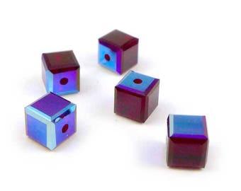 10 x Swarovski 4mm Cubes - SIAM AB