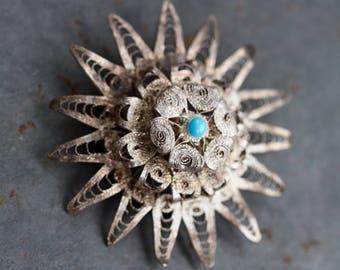 Filigree Flower Lapel Pin With Turquoise Stone - Antique Dainty Patina Brooch