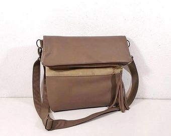 Beige leather crossbody bag, suede shoulder bag, bag folding, suede handbag, crossbody purse, clutch bag, handmade bag, hobo bag, day bag