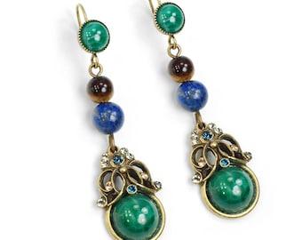 Gemstone Earrings, Lapis Earrings, Tigers Eye, Green Earrings, Dangle Earrings, Vintage, Tranquility Earrings, Vintage Glass Earrings E1356