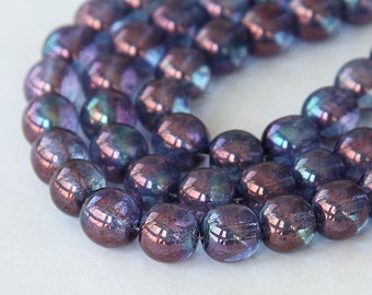 Transparent Amethyst Luster Czech Glass Beads, 8mm Round - 25 pcs - e15726-8r