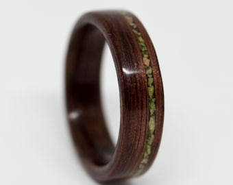 Wood Ring for Men, Wood Ring for Women, Stone Inlay Wood Ring, Walnut Wood Ring, Wood Ring Wedding Band, Men Wood Ring, MnMWoodworks