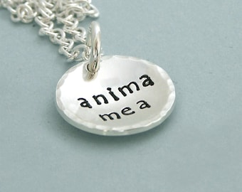 ANIMA MEA - My Soul - Hand Stamped Sterling Silver Necklace - Latin Motto - Anniversary Gift - Wedding Gift