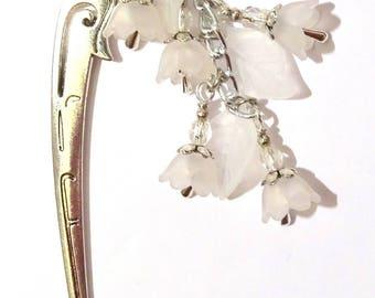 Pic à Cheveux Cascade de fleur de muguet blanc clochette en métal couleur argent mariage art nouveau victorien