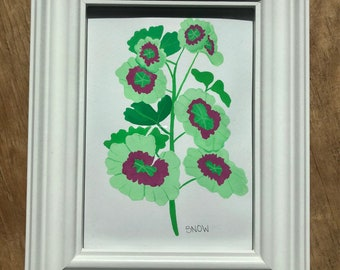 Geranium Leaves Gouache Painting With White Frame 5 by 7