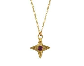Rubin Kompass Stern-Halskette, Rubin-Halskette, Juli Birthstone Geschenk, Kompass Halskette, Stern, North Star, Edelstein Halskette