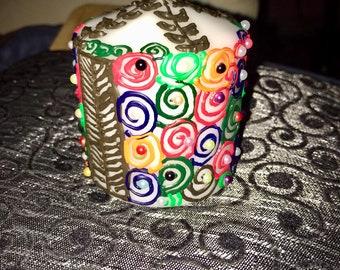 Multi-coloured Henna Design Candle