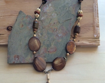 Vintage statement necklace handmade from vintage beads, findings repurposed mixture of old & new makes a statement with its' individuality