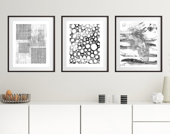 Set Of 3 Black And White Prints