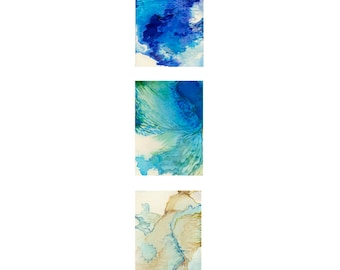 Abstract watercolor print, small modern wall art, turquoise blue teal art, Triptych Territories