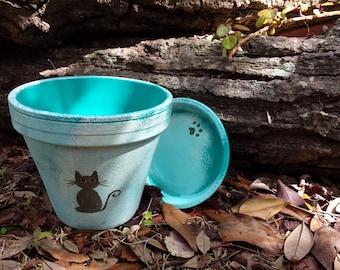Cat Flower Pot - Rustic Vintage Look - Cat Lovers - Painted Flower Pot