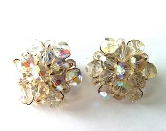 Classic Rhinestone Crystal Cluster Clip On Earrings/1960's Rhinestone Jewellery/Designer Jewellery/Retro Clip On Earrings/Vintage Clip On