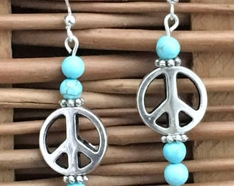 Peace Sign Mismatched Earrings with Blue Turquoise Gemstones, Throat Chakra Beaded Earrings, Groovy Dangle Earrings, Hippie Earrings