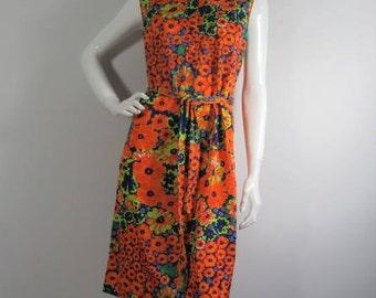 1960's/70's Psychedelic Floral Dress, UK-12, Vintage, Flower Power, Austin Powers, Sleeveless, Dagger Collar