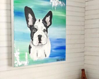 Boston Terrier Painting Acrylic on Canvas Original Wall Hanging Home Decor Pet Dog Animal Portrait