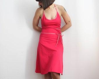 Pink cotton jersey spaghetti strap summer dress / Rosa baumwolle Trägerkleid