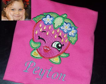 Embroidered Shirt or Onesie Strawberry Kiss Shopkins