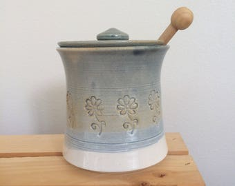 Ceramic Honey Pot, Sugar Pot, Handmade, Wheel Thrown, Ready to Ship