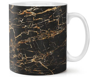 Black Gold 2 Marble Effect 10oz Mug Cup