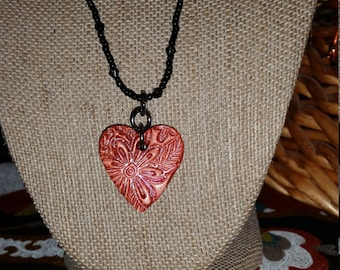 Heart Pendant Handmade out of clay, Bible Verse reference Isaiah 41:10 on the back