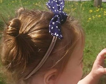 Top knot nylon headband dots navy, baby bow headband, baby hair wrap, child bow headband, newborn photo prop, toddler girl nylon headband