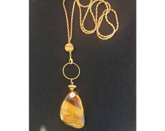 Tigers Eye Gemstone Pendant Necklace  - Stone Necklace - brass chain choker - Long crystal necklace