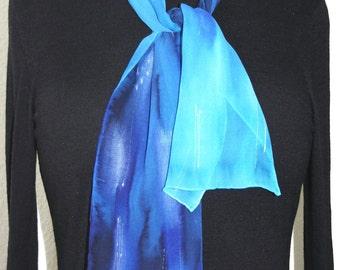 Silk Scarf Handpainted. Blue, Turquoise Hand Painted Silk Shawl. Handmade Chiffon Silk Scarf NIGHT OCEAN. Size 8x54. Birthday, Mother Gift