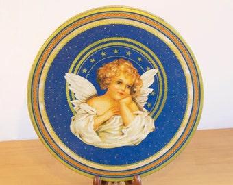 Vintage Angel Christmas tin box