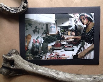 5x7 zombie mom in kitchen cooking brains folded greeting card photo photography mom severed fingers blood bloody gore prop zombies halloween