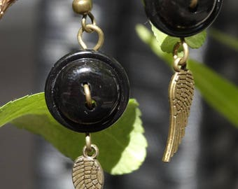 Dark Angel - Earrings buttons and charms