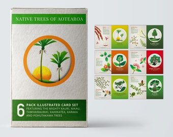 6 card gift pack of A6 greeting cards with craft envelopes – Native Trees of Aotearoa.