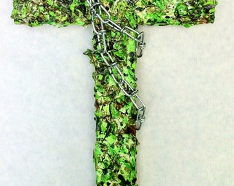 handmade wood and plaster cross, painted wall sculpture, Jackson Pollock-inspired, abstract wall collage, margarita, green, lime