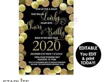 New Year's Party Invitation Printable, New Year Party Invite Download, New Years Invitation EDITABLE INSTANT DOWNLOAD, Invitation Template