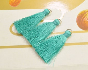 20 Pieces 40mm Silk Tassel with Gold Plated Jump Ring, Jewelry Tassels, Tassel Pendant Charm, Wholesale Tassels, Turquoise blue Color, V11#
