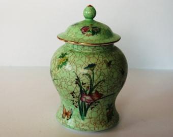 Individual Large Antique/Vintage Oriental China Ginger Pot With Lid  - Print Glazed Design -  / MEMsArtShop.