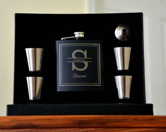 Personalized Groomsmen Gift, 7 Flasks, Asking Groomsmen, Engraved Flask, Shot Glasses, Wedding Party Gift, Best Man, Flask, Asking Usher