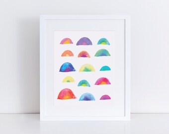 Rainbow Art Print, Rainbow Wall Art, Wall Decor, Nursery Art, Watercolor Print, Rainbow Print