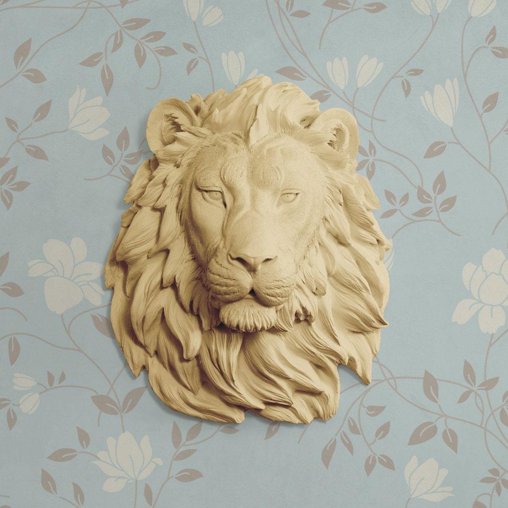 The Saharan in Khaki Faux Lion Head Fauxidermy Decorative