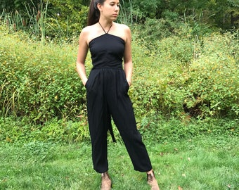 Vintage Black Halter Backless/Sleeveless Jumpsuit