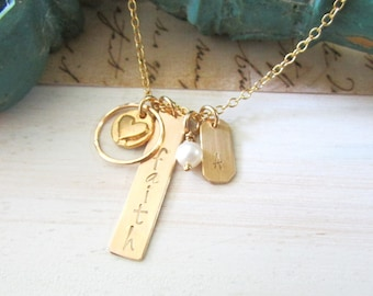 Gold Name Necklace, Gold Bar Necklace, Personalized Necklace, Hand Stamped Gold Necklace, Gold Initial Necklace, Custom Necklace