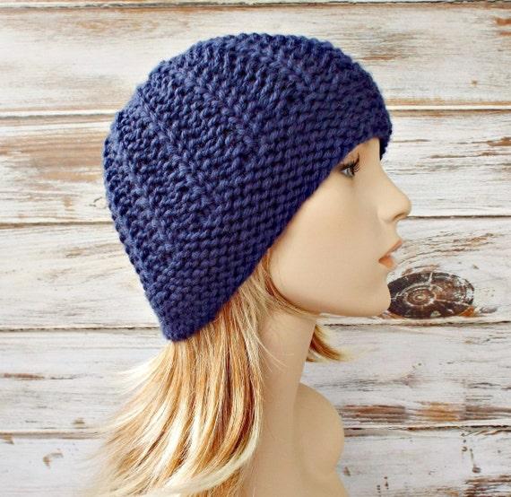 Knit Hat Blue Womens Hat - Imogen Ribbed Beanie in Navy Blue Wool Knit Hat - Blue Hat Blue Beanie Womens Accessories Winter Hat