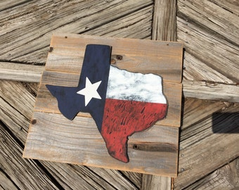 Rustic Texas flag wall hanging