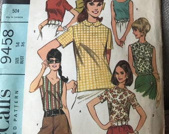 Vintage 60s McCall's 9458 Blouse Pattern-Size 14 (36 Bust)