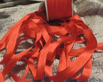 7mm red silk ribbon 5 yards and available in 2mm & 4mm withds